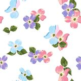 Spring autumn flowers seamless Pattern. Watercolor style floral background. stock illustration