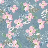 Spring autumn pink flowers with white herbs seamless pattern. royalty free illustration