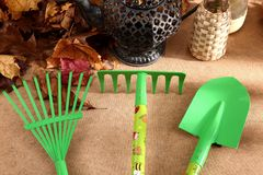 When the spring or autumn season comes, it`s time to organize the garden. During cleaning works, various garden tools are useful which shorten the working time Royalty Free Stock Photography