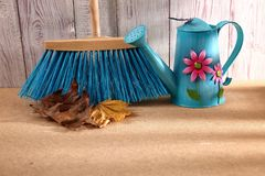 When the spring or autumn season comes, it`s time to organize the garden. During cleaning works, various garden tools are useful which shorten the working time Stock Photography
