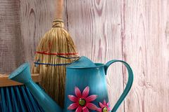 When the spring or autumn season comes, it`s time to organize the garden. During cleaning works, various garden tools are useful which shorten the working time Royalty Free Stock Image