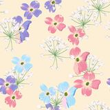 Spring autumn violet blue pink flowers with herbs seamless pattern. Watercolor style floral background for invitation, fabric, wal stock illustration