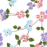 Spring autumn violet blue pink flowers seamless Pattern. Watercolor style floral background. royalty free illustration
