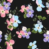 Spring autumn flowers seamless Pattern. Watercolor style floral background. vector illustration