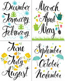 Spring, Autumn, Winter, Summer. Month of the year. Calligraphy and icons Stock Image