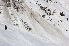 Spring avalanche in motion. Late winter avalanche in motion stock photography