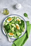 Spring avocado salad with green vegetables and boiled egg.Top vi. Spring avocado salad with green vegetables and boiled egg on a vintage plate over light slate Stock Photo