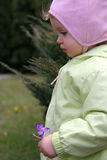 Spring baby. Little baby holding crocuses Royalty Free Stock Photography