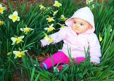 Spring Baby In Daffodils Royalty Free Stock Image