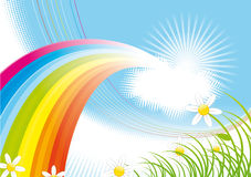 Spring background. With rainbow and flowers royalty free illustration