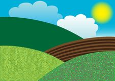 Spring Background. Illustration of spiring hills over blue sky with clouds and sun vector illustration