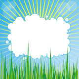 Spring Background. Abstract Background - Sun Rays, Grass and Cloud With Copyspace - Vector stock illustration