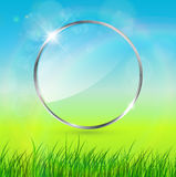 Spring background. Glossy circle for text Stock Image