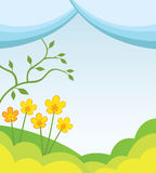 Spring background. Abstract spring background with hills, flowers and tree Stock Images