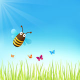 Spring Background. With a cute bumblebee and butterflies Stock Image