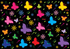Spring background. Abstract funny background with butterflies and flowers stock illustration