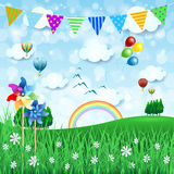 Spring background with balloons and festoon Royalty Free Stock Photography