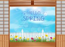 Spring background behind the opened doors with wooden fence and daisies flowers. Illustration of Spring background behind the opened doors with wooden fence and Stock Photography