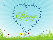 Spring background with birds forming an heart Royalty Free Stock Photos