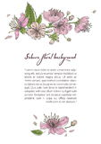Spring background with blooming sakura flowers. Design template with place for text. Stock Photo