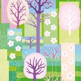 Spring background with blooming trees Stock Photo