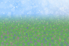 Spring Background Blue Sky Meadow Flowers Stock Photos
