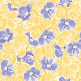 Spring background. blue and yellow flowers. vector seamless pattern. floral backdrop. textile paint. repetitive background. Spring background with blue and royalty free illustration