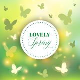 Spring background. Bokeh vector design. Abstract Greeting Card. Beautiful Blurred Lights with Butterflies. Spring background. Bokeh vector design. Abstract Royalty Free Stock Image