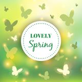 Spring background. Bokeh vector design. Abstract Greeting Card. Beautiful Blurred Lights with Butterflies. Spring background. Bokeh vector design. Abstract Stock Images
