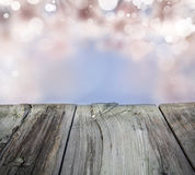 Spring background with bokeh and wood floor. Stock Photography