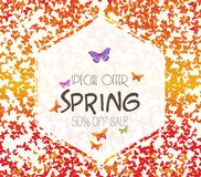 Spring background with colorful butterflies. Sale off.  vector illustration