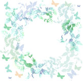 Spring background, Colorful butterflies set wreath. With green mint leaves, watercolor. Round banner for text. spring summer card design on white background vector illustration
