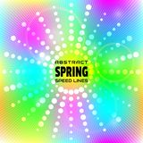 Spring background colorful speed lines. Effect motion lines for comic book and manga. Radial rays from center of frame. With effect explosion. Template for vector illustration
