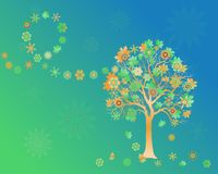 Spring background with colorful tree with abstract flowers and leaves on wind. Elegant design with copy space. Editable, can be used on brochures, posters etc stock illustration