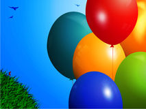 Spring background with colourful balloons. Spring Landscape Background with 3D Balloons Green Grass and Birds Over Blue Sky Royalty Free Stock Photography