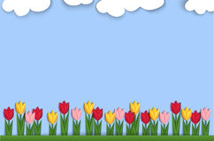 Spring background decorated with paper tulips Royalty Free Stock Photography