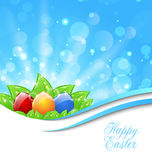 Spring Background with Easter Colorful Eggs Stock Photography