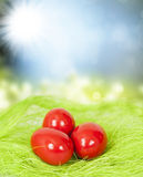 Spring background and Easter eggs Royalty Free Stock Photos