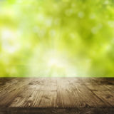 Spring background with empty table. Fresh green spring background in front of an old rustic wooden table for a concept Royalty Free Stock Photography