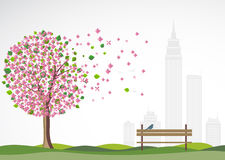 Spring background with flowering tree. Royalty Free Stock Images