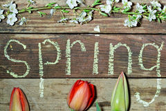 Spring background flowers and inscription in chalk Royalty Free Stock Photos
