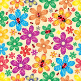 Spring a background with flowers and ladybirds.Vector Stock Image