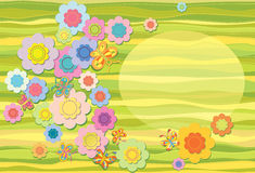 Spring background with flowers. Oval for text Royalty Free Stock Images
