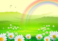 Spring Background with flowers and  rainbow. Spring background with rainbow, green grass, flowers, clouds and swallows. Useful also as Easter greeting card. Eps Royalty Free Stock Photo