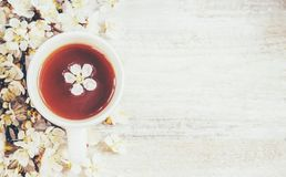 Spring background, flowers and tea. royalty free stock photo