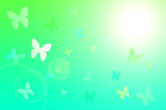 Spring background with flying butterflies Stock Photos