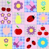 Spring background with fruits and flowers. Ladybugs and butterflies Royalty Free Stock Photos