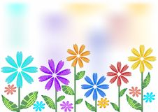 Spring background with futuristic flowers Royalty Free Stock Photography