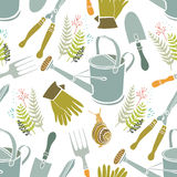 Spring background, gardening tools and snails Royalty Free Stock Images