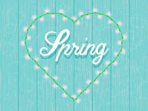Spring background in gentle blue tones, heart garland. With glowing light bulbs.A wooden wall.Text. Vector illustration Royalty Free Stock Photo